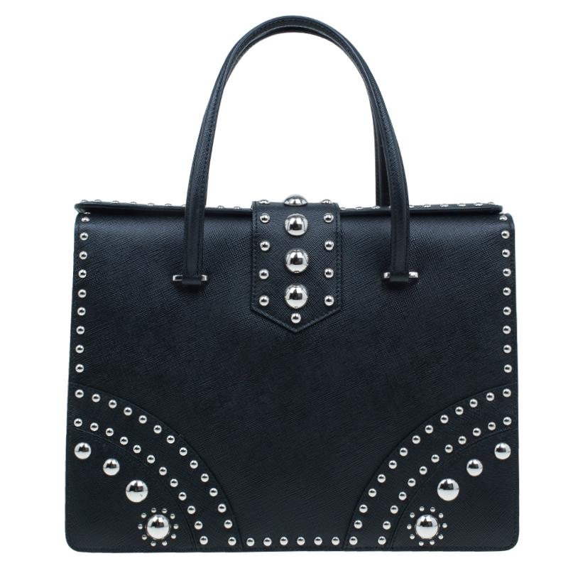 Prada Black Studded Saffiano Leather Tote