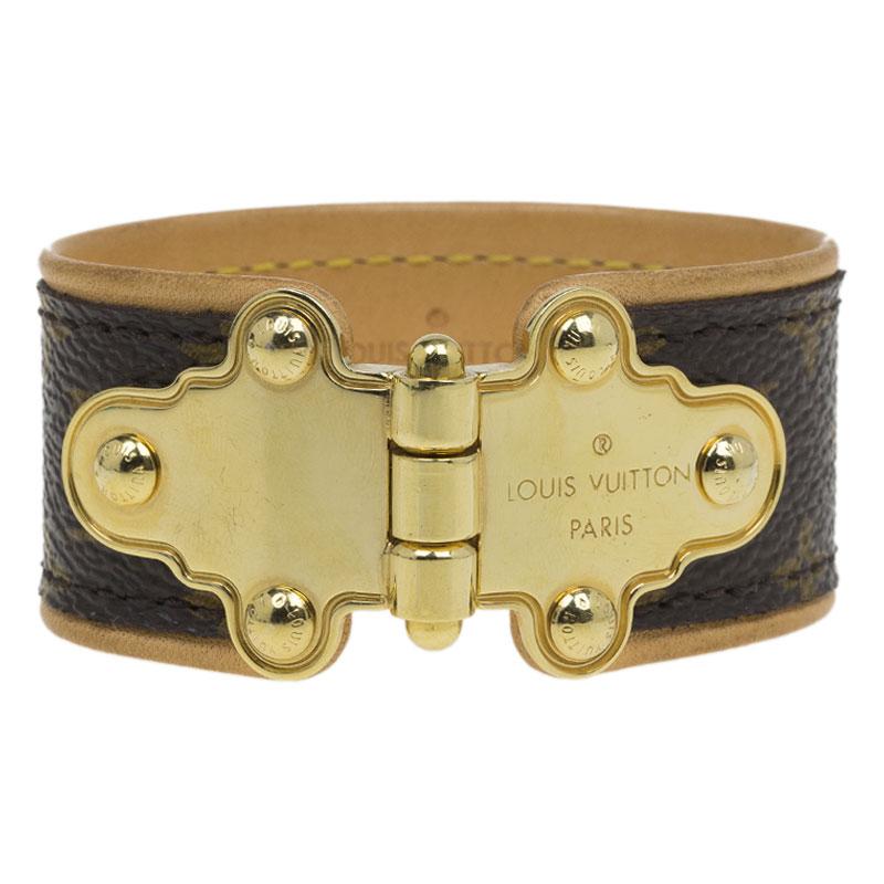 Louis Vuitton Save It Monogram Brown Canvas Gold Tone Metal Bracelet