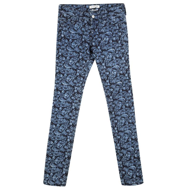 Купить со скидкой Isabel Marant Etoile Indigo Eyelet Embroidered Distressed Denim Skinny Jeans S