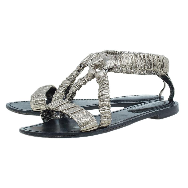 Burberry Metallic Gold Elastic Leather Flat Sandals Size 38