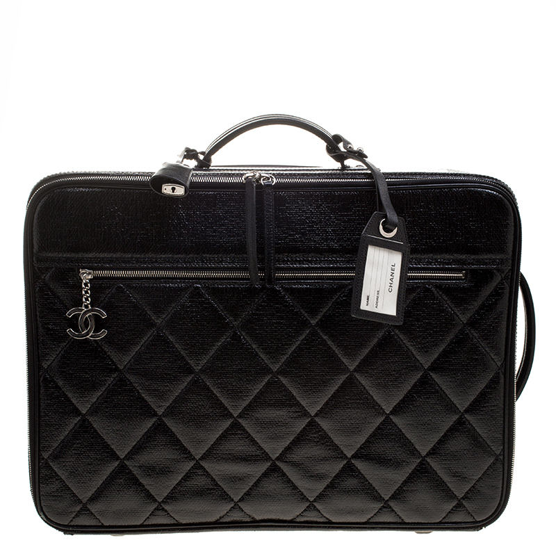 Chanel Black Quilted Glossy Coated Canvas Carry On Luggage Nextprev Prevnext
