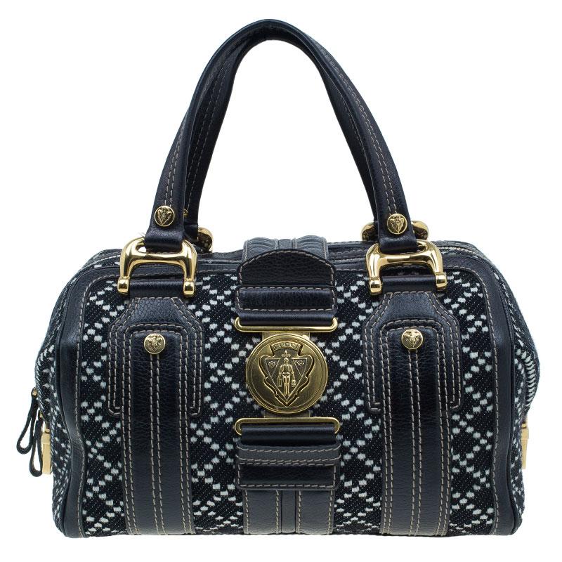 Gucci Black Tweed Medium Aviatrix Boston Bag