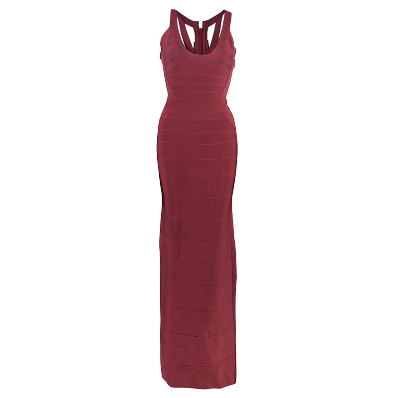 Herve Leger Juliette Long Bandage Gown S