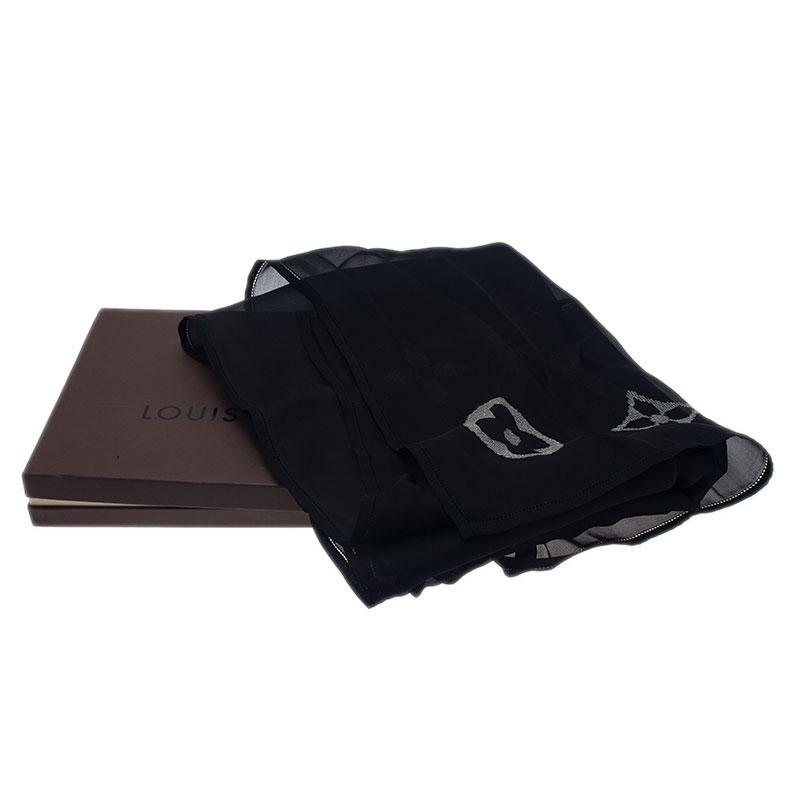 Louis Vuitton Black Monogram Glitter Silk Stole
