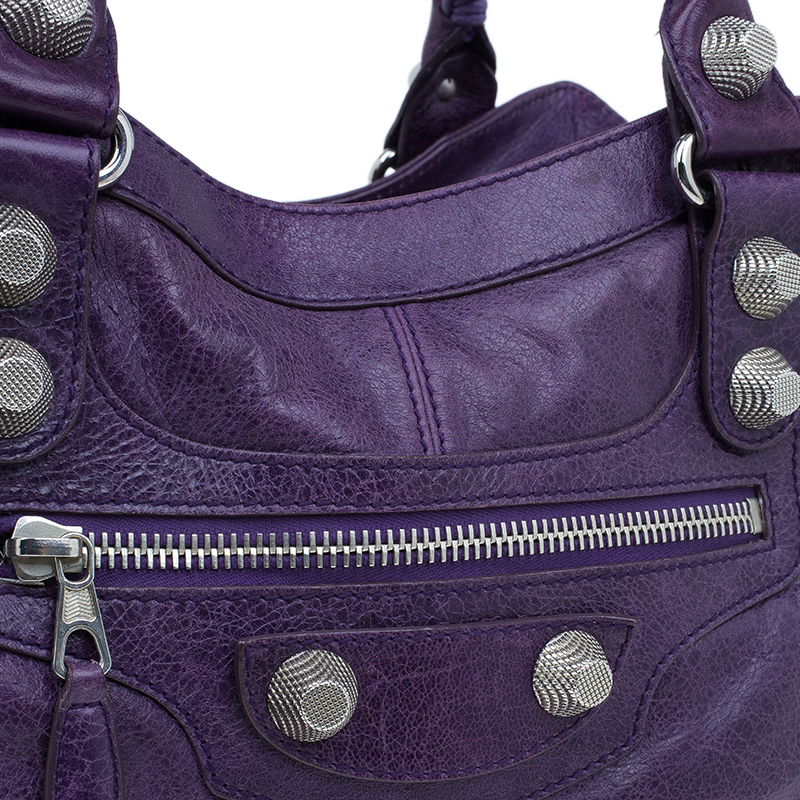 Balenciaga Purple Lambskin Leather Arena Giant Brief Hobo Bag