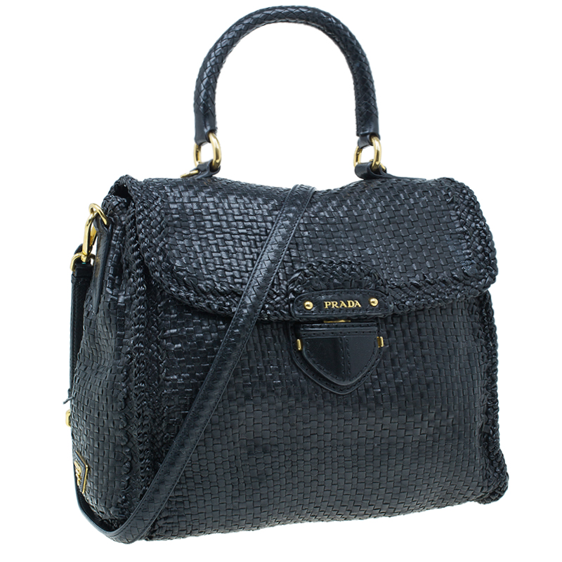 Prada Black Woven Goatskin Leather Madras Bag