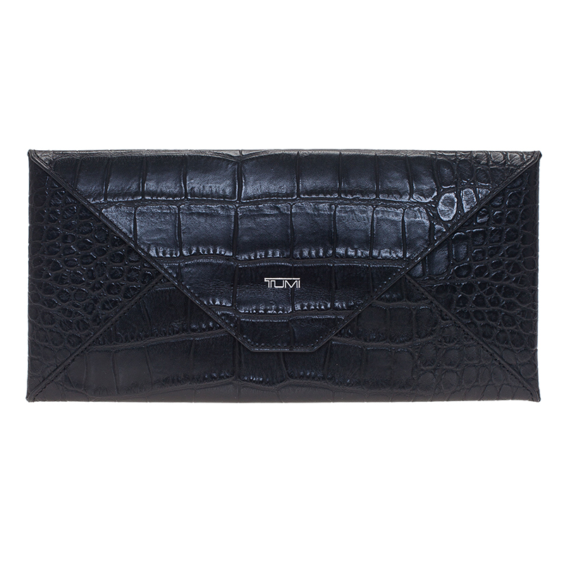 Tumi Black Crocodile Embossed Envelope Pouch