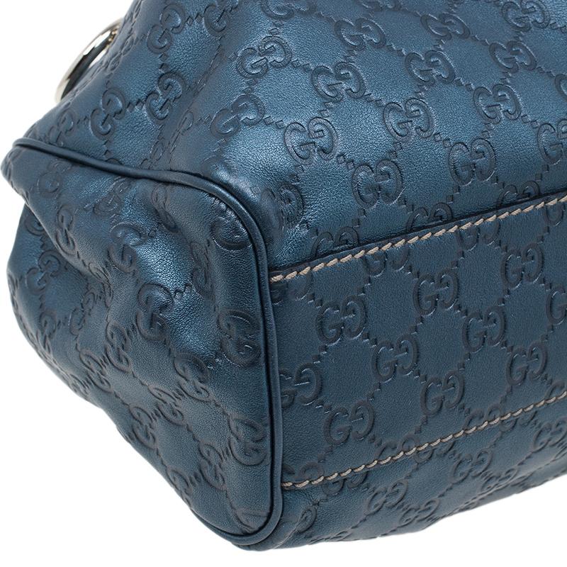 Gucci Blue Metallic Guccissima Leather Sukey Tote