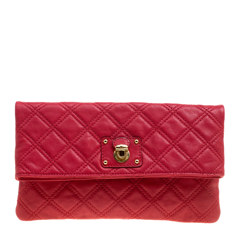Купить со скидкой Marc Jacobs Red Quilted Leather Eugenie Clutch