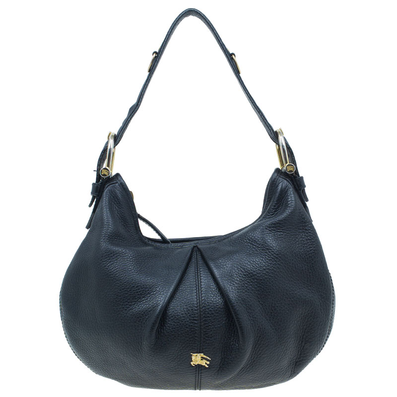 Burberry Black Pebbled Leather Small Malika Hobo