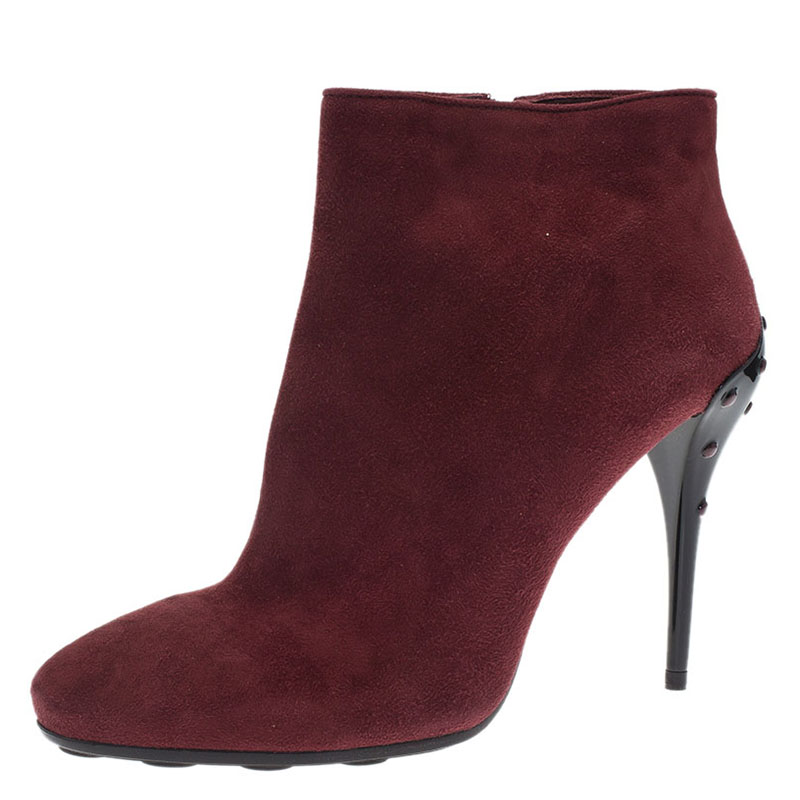 tod s burgundy suede ankle boots size 39 5 buy sell lc