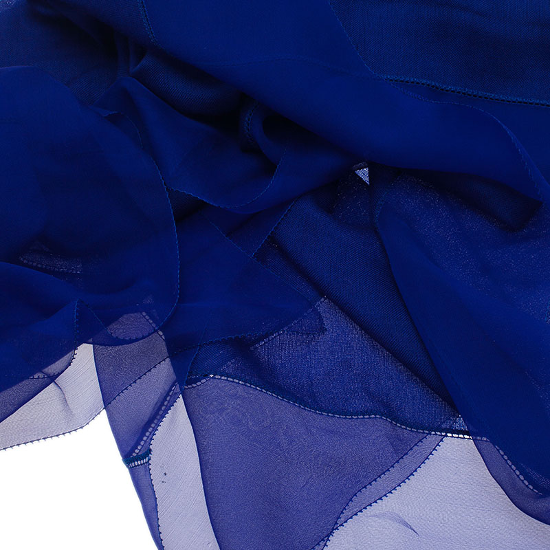 Dior Blue Chiffon and Cotton Blend Stole