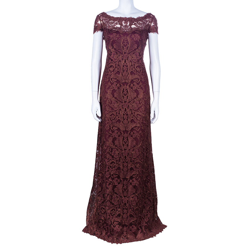 Tadashi Shoji Mahogany Brown Embroidered Lace Gown L