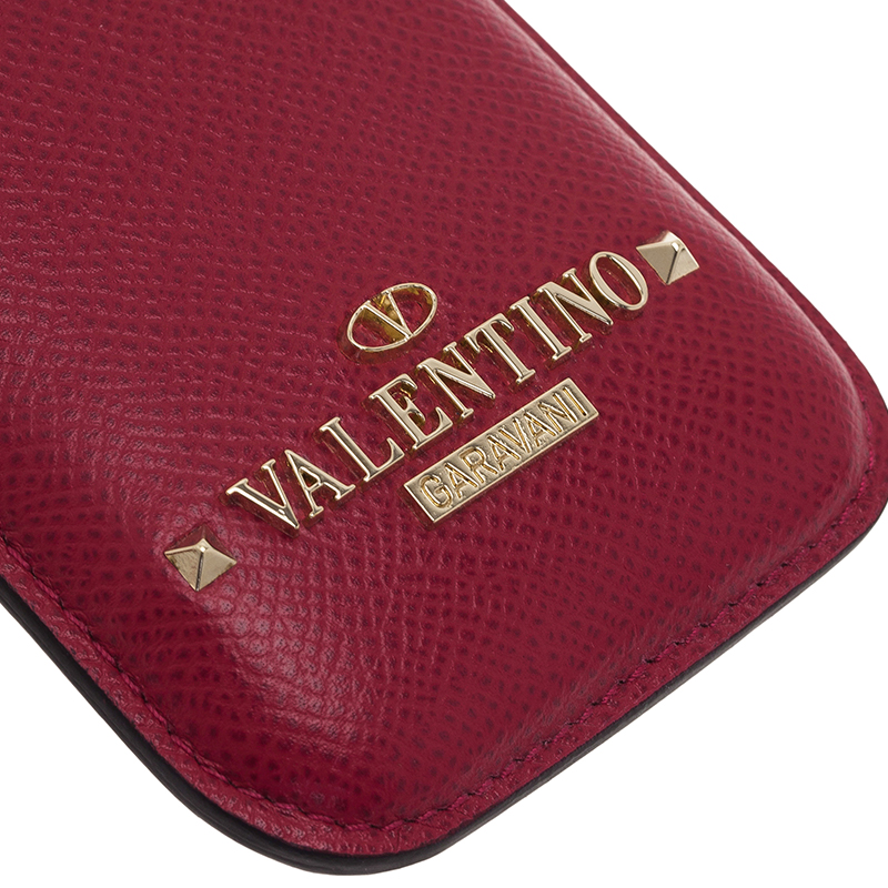 Valentino Dark Pink Leather Rockstud iPhone 5/5S Case