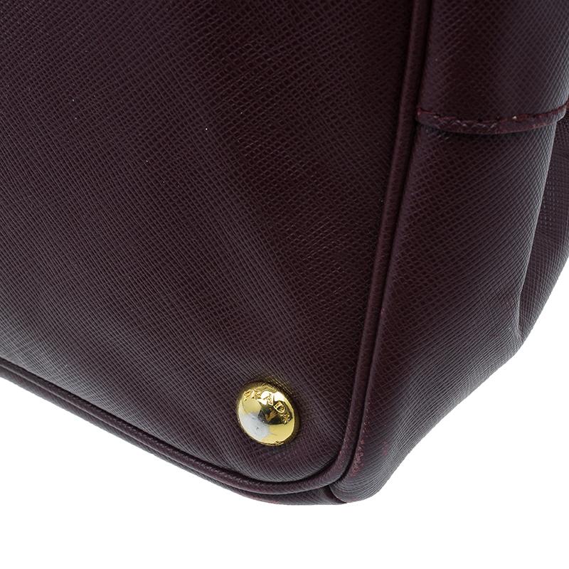 Prada Burgundy Saffiano Leather Medium Lux Tote