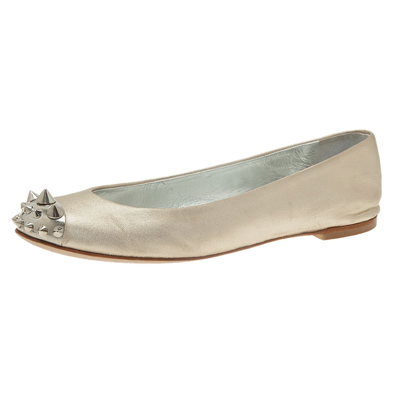Giuseppe Zanotti Silver Leather Spiked Cap Toe Ballet Flats Size 37