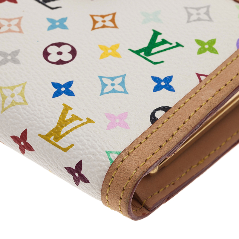 Louis Vuitton White Multicolor Monogram Canvas French Wallet