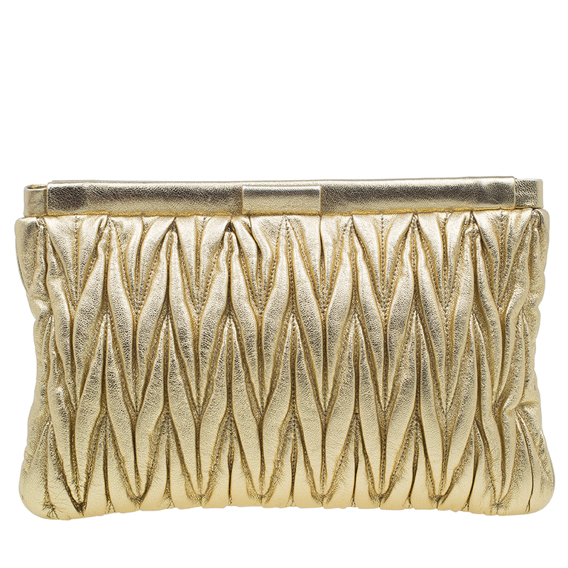 Miu Miu Gold Matelasse Leather Frame Clutch