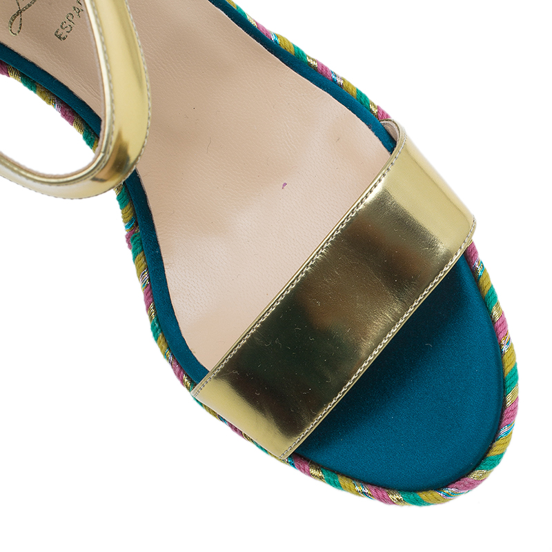 Christian Louboutin Gold Leather New Duplice Ankle Strap Wedges Size 38.5