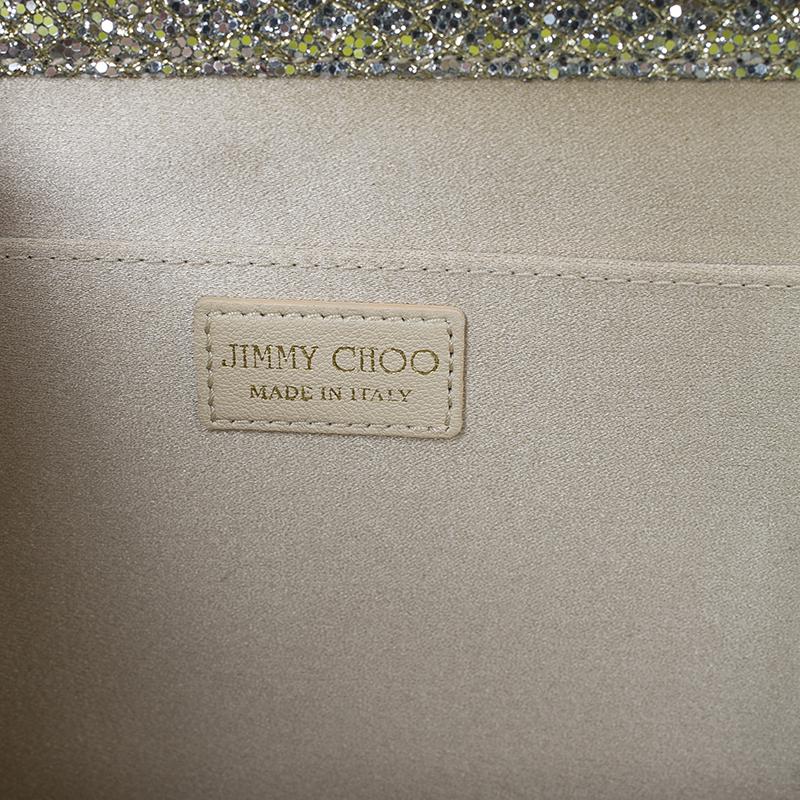Jimmy Choo Gold Glitter Finished Cayla Clutch