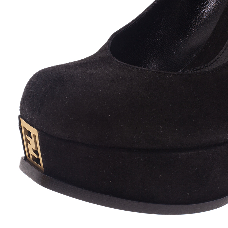 Fendi Black Suede Logo Platform Pumps Size 37