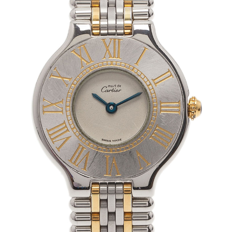 Cartier Grey Stainless Steel Must 21 Women's Wristwatch 28MM