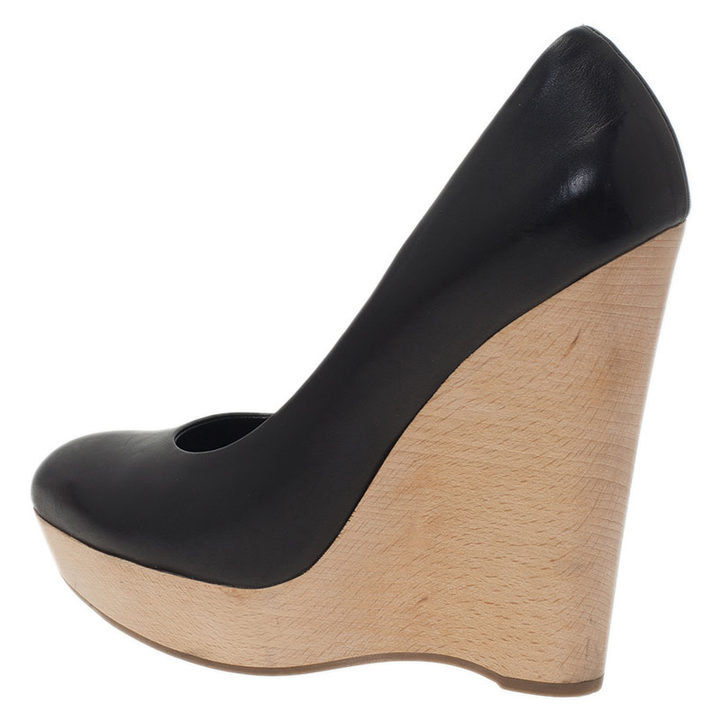 Saint Laurent Paris Black Leather Maryna Wedge Pumps Size 37.5