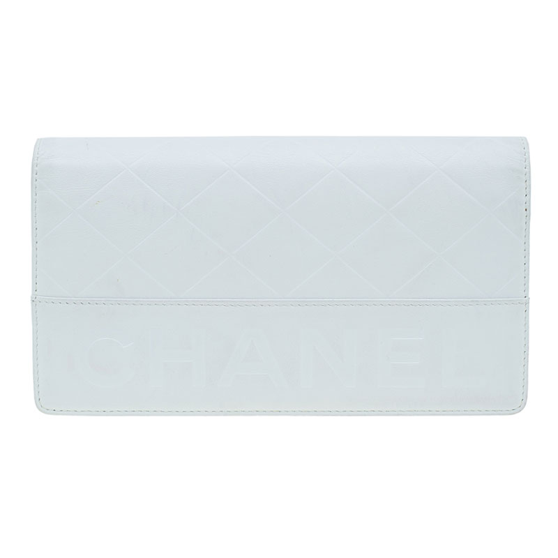 Chanel White Quilted Leather Long Wallet