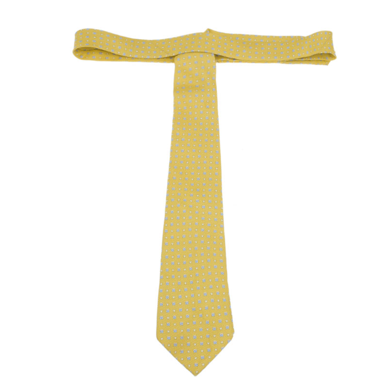 Salvatore Ferragamo Yellow Silk Printed Tie