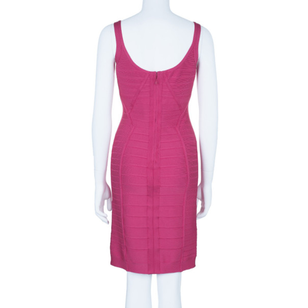 Herve Leger Amanda Fuschia Bandage Dress M