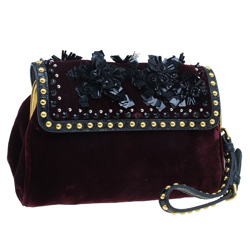 Prada Burgundy Bordeaux Velvet Studded Sequins Clutch