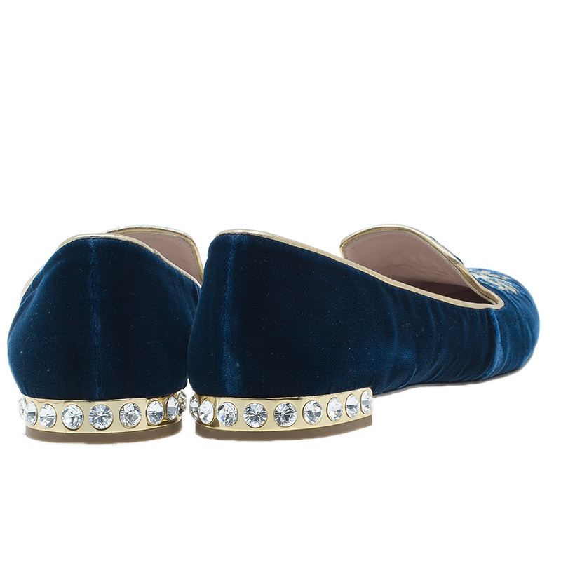 Miu Miu Navy Blue Velvet Crest Embellished Smoking Slippers Size 38
