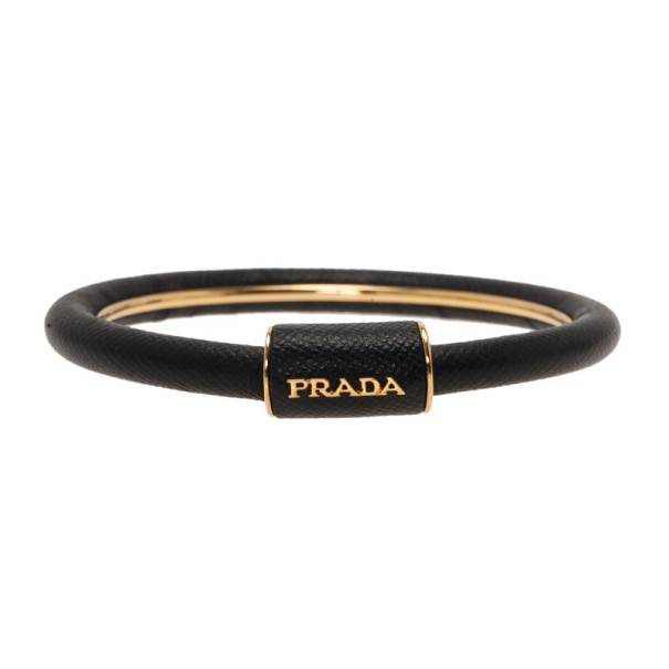 Prada Saffiano Black Leather Cuff Bracelet 18CM
