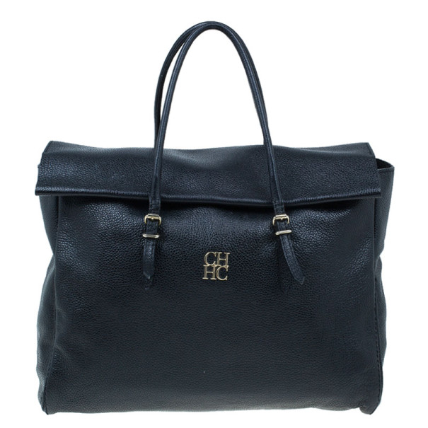 Carolina Herrera Black Leather Tempo Collection Adagio Bag