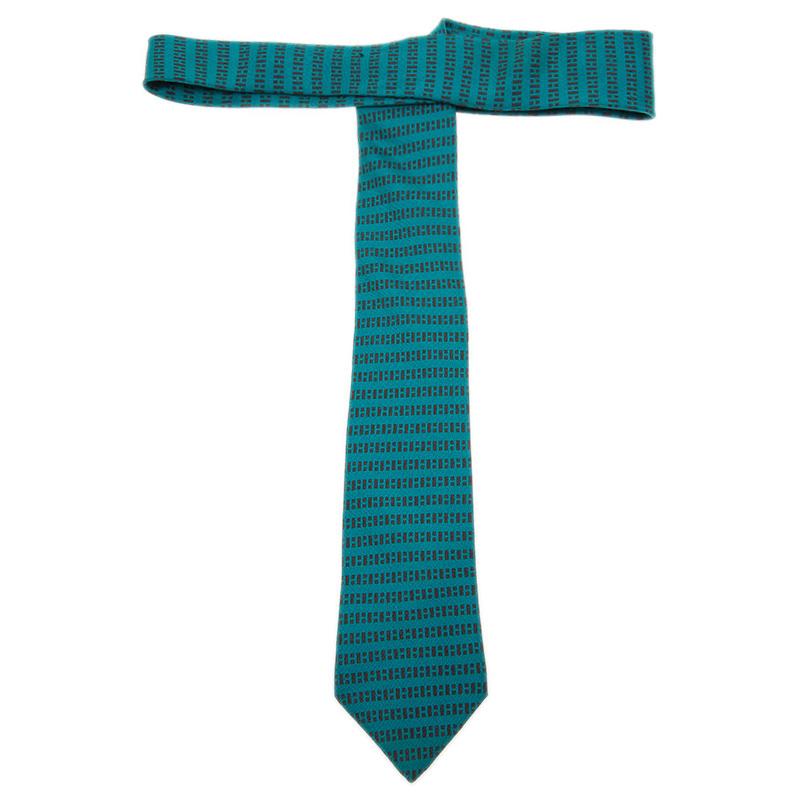 Hermes Blue Printed Silk Skinny Tie