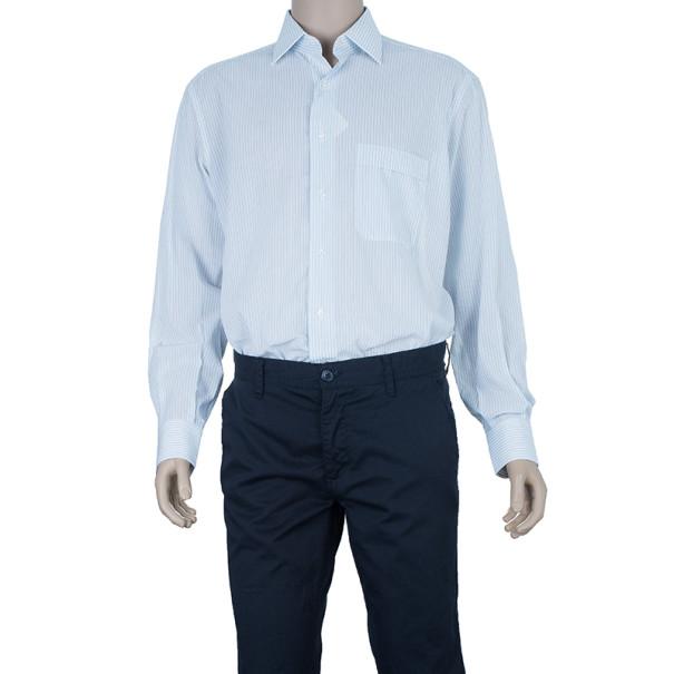 Brioni Sky Blue Pinstripe Fitted Shirt EU40