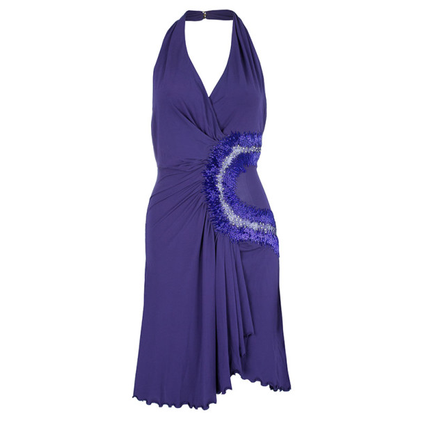 Roberto Cavalli Halterneck Embellished Cocktail Dress S