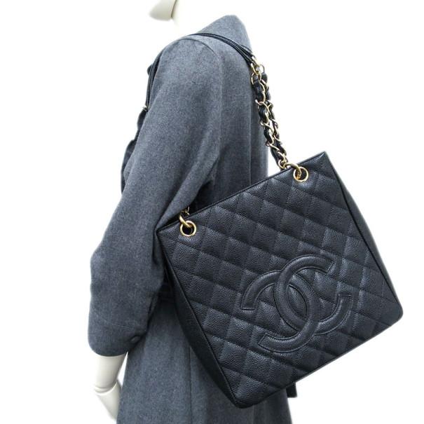 Chanel Black Caviar  Petit Shopping Tote PST