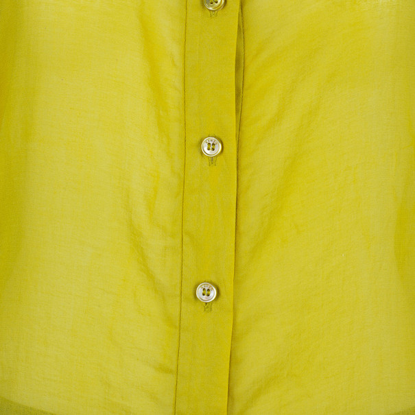 Kenzo Yellow Cotton Blend Shirt M