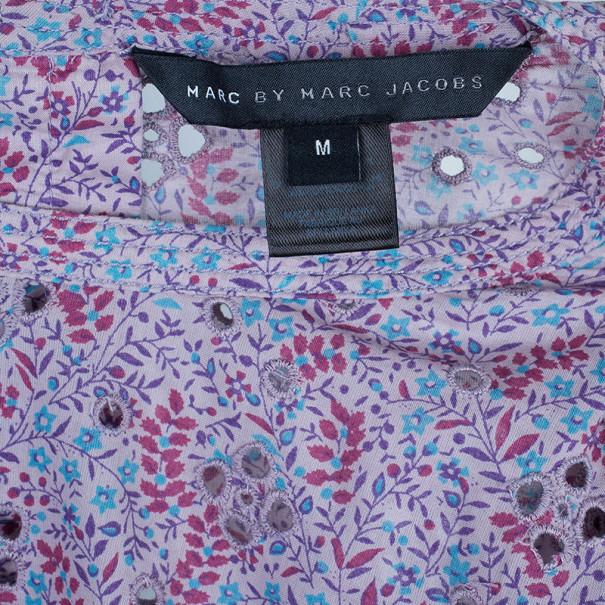 Marc by Marc Jacobs Purple Printed Eyelet Detail Top M