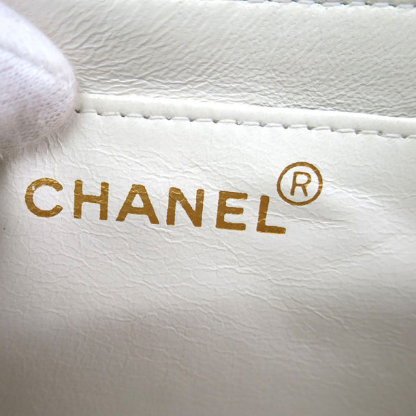 Chanel White Lambskin Top Handle Bag