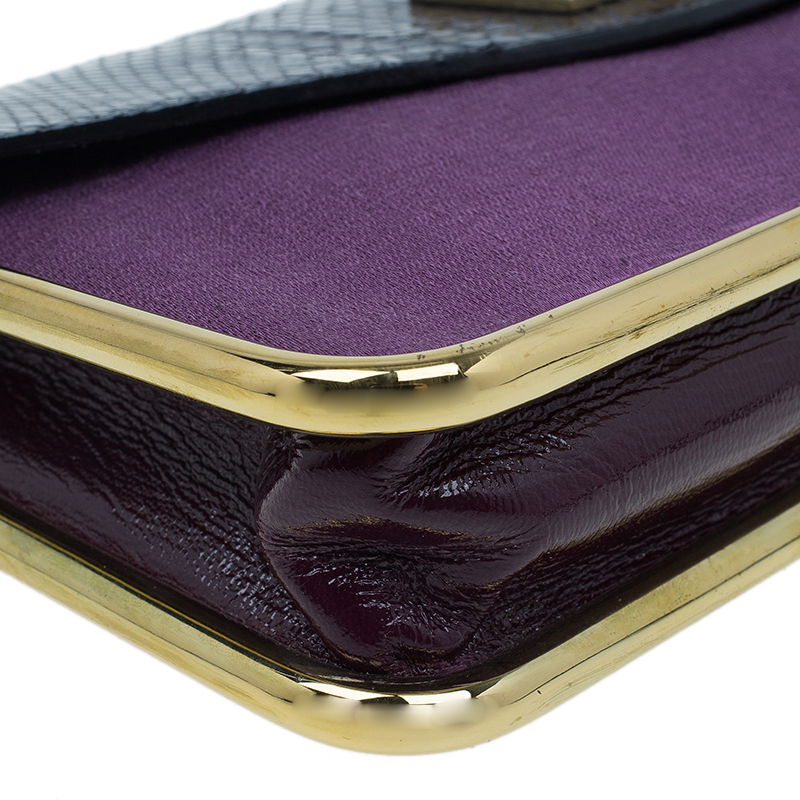Chloe Tri Color Leather and Satin Sally Clutch