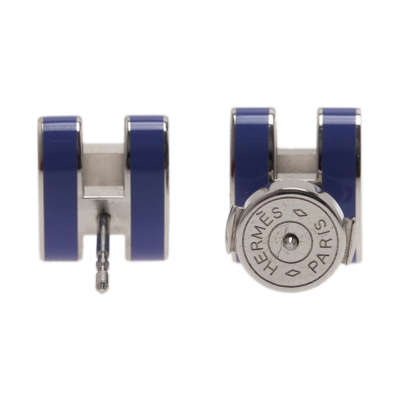 Hermes Pop H Blue Lacquer Earrings