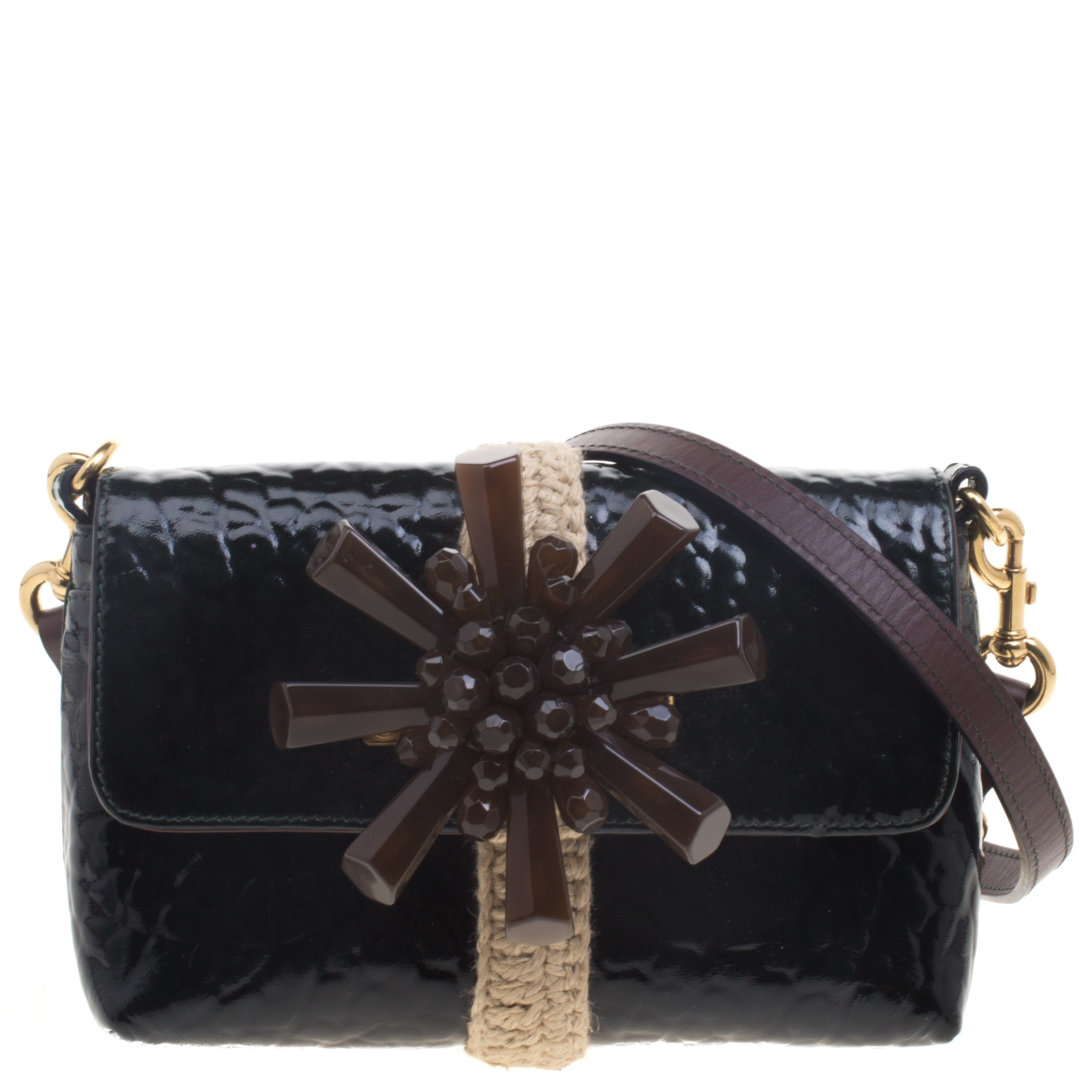 Marc Jacobs Dark Green Patent Leather Embellished Crossbody Bag. nextprev.  prevnext ... 79418d91a3e57