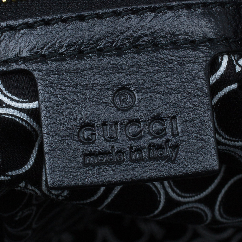Gucci Black Leather Medium Horsebit Nail Boston Bag