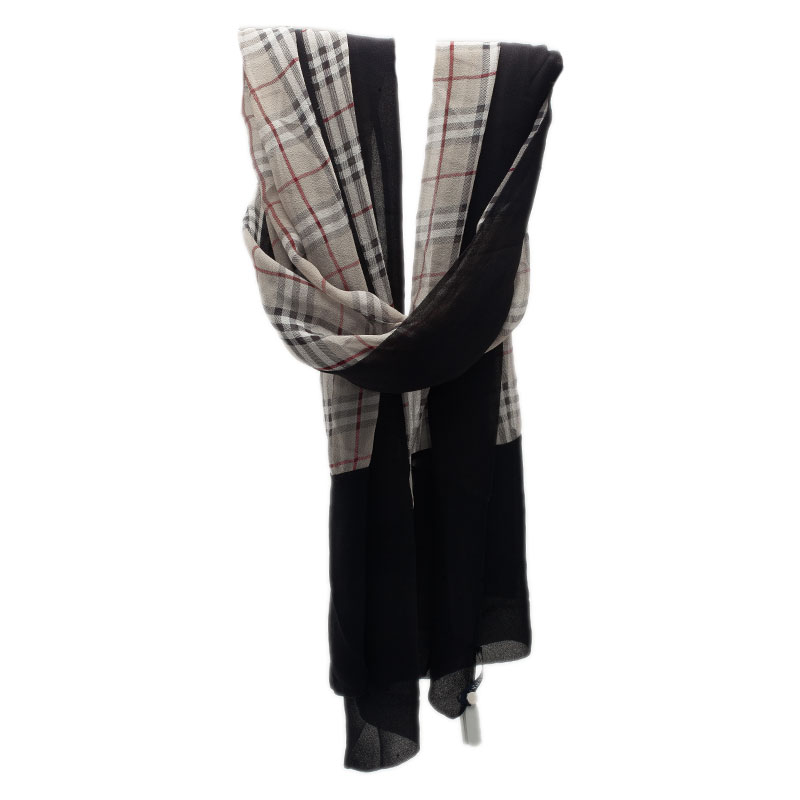 Burberry Black and Beige Novacheck Silk Stole