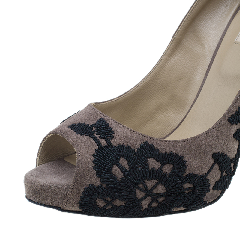 Valentino Purple Embroidered Suede Peep Toe Pumps Size 39.5