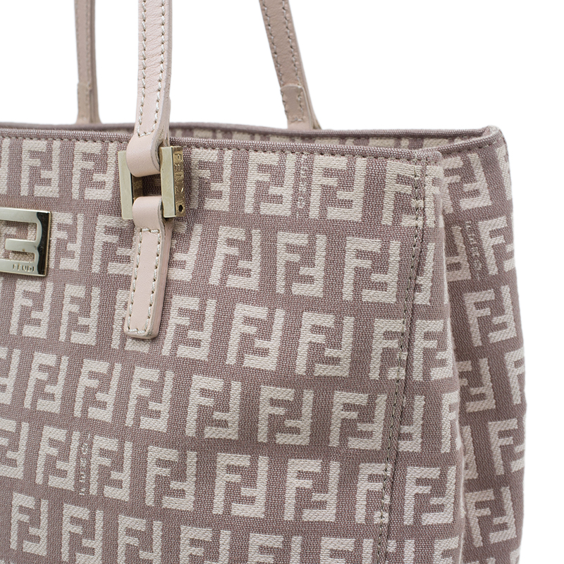 Fendi Pink Zucchino Canvas and Leather Tote Bag
