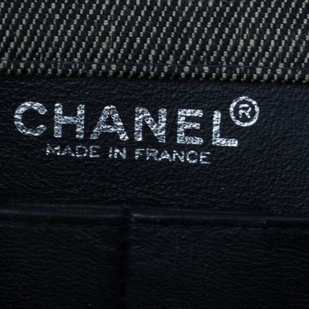 Chanel Black Denim Chocolate Bar Flap Shoulder Bag