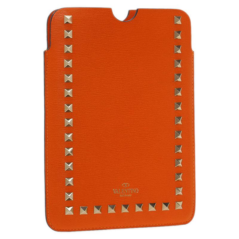 Valentino Orange Leather Rockstud iPad Mini Case